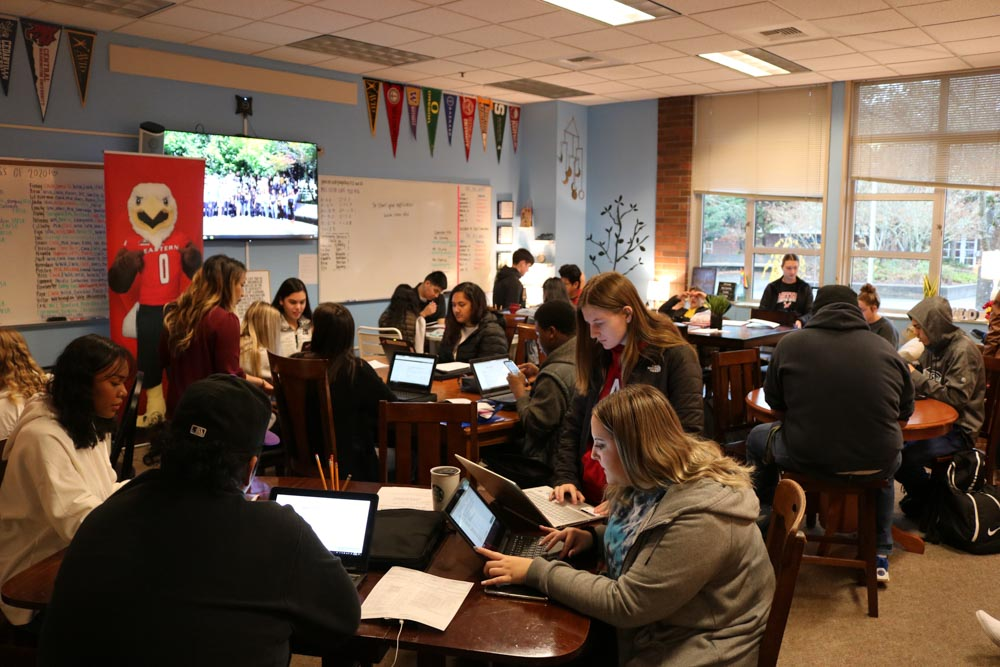Students in classroom prepare to meet with admissions officers.